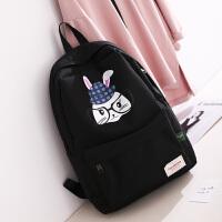 眼镜兔子帆布双肩包女韩版校园初中学生书包少女可爱卡通高中背包