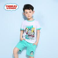 【满600减400】托马斯正版童装男童夏装时尚印花纯棉短袖T恤+短裤套装两件套