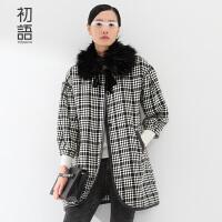 初语冬季新品毛呢外套女中长款 可拆卸毛领七分袖格子呢大衣女8531224017
