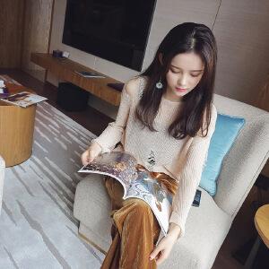 谜秀毛衣女2017秋季新款韩版宽松破洞镂空长袖针织衫薄款上衣秋装