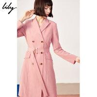 【2件4折价:399.6元】 Lily春新款女装两穿条纹双排扣风衣外套系腰带西装领连衣裙