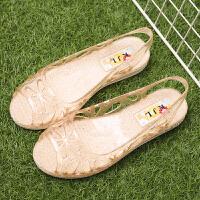 平底透明鱼嘴水晶凉鞋女夏季女士果冻鞋沙滩塑料雨天防水妈妈凉鞋