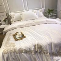 欧式刺绣全棉四件套纯棉床单贡缎被罩冰丝绸被套床笠床上用品 白色 YHG爱丽丝 2.2m床(被套配220*240) 床单