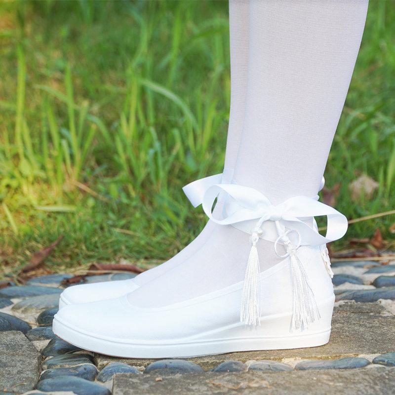 古风鞋纯白色配汉服老北京布鞋系带平底坡跟刺绣花舞蹈鞋子女cos 纯白鞋坡跟流苏绑 锦绣