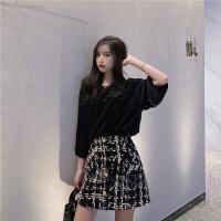 夏装2019新款套装宽松显瘦丝绒打底上衣女+高腰编织粗花呢半身裙