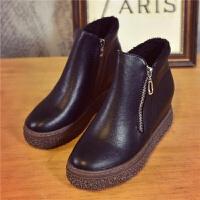 新款坡跟厚底内短靴单靴高跟靴子百搭秋冬棉鞋靴女靴 偏小一码