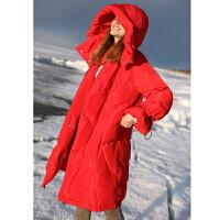 【到手价:612元】Amii极简韩版宽松红色羽绒服潮简约冬新90白鸭绒连帽中长加厚外套