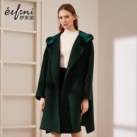 伊芙丽冬装宽松连帽羊毛呢大衣立领中长款毛呢外套女