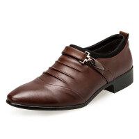 香港潮牌 夏季时尚男士休闲鞋夏季男鞋子商务正装皮鞋套脚单鞋特大码48