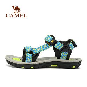camel骆驼户外女款沙滩鞋 提花织带魔术贴缓震女士凉鞋