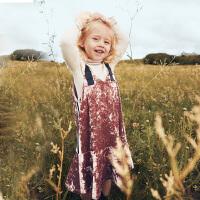 【满200减130】迷你巴拉巴拉女童吊带连衣裙秋新款童装儿童女褶皱裙子背带裙
