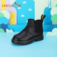 【1件2.5折后:52.25元】红蜻蜓女童靴子新款儿童鞋子马丁靴女韩版短靴粉红小皮靴