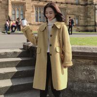 赫本风呢子大衣女秋冬季2018新款韩版中长款学生学院宽松毛呢外套 黄色