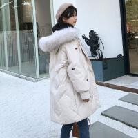 刺绣羽绒服女中长款2018冬季新款大毛领韩版大码显瘦加厚连帽外套 白色 S