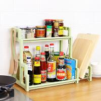 厨房置物架 简约免打孔双层厨房置物架调味调料架子多功能省空间储物砧板厨具用品收纳架