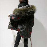羽绒服女短款2018新款时尚女装欧货冬款白鸭绒潮小款派克服欧洲站 迷彩色