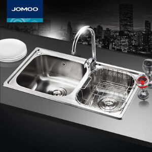 【每满100减50元】九牧(JOMOO)厨房水槽双槽进口304不锈钢水槽套装洗菜盆洗碗槽02081