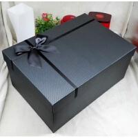 超大号黑色长方形礼品盒商务礼盒婚纱西装高跟鞋礼物包装盒定制盒 黑银色 黑色丝带