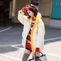 白色短款羽绒服女冬2018新款韩版宽松外套加厚面包服小个子外套潮 白色