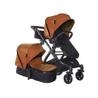 【当当自营】美国BabyRoo Letour Avant Luxe皮质系列高景观多功能轻便婴儿手推车时尚棕黑色架