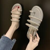 拖鞋女外穿夏季韩版新款网红拖鞋时尚平底凉拖亮片套趾罗马拖鞋女