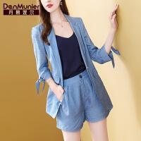 【开业狂欢 到手价:358.4元】丹慕妮尔蓝色短裤套装女2019新款秋季时尚中长款西装外套两件套裤