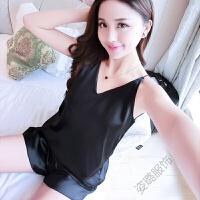 女夏季短袖睡衣两件套装大码韩版性感吊带睡裙薄款家居服睡裙