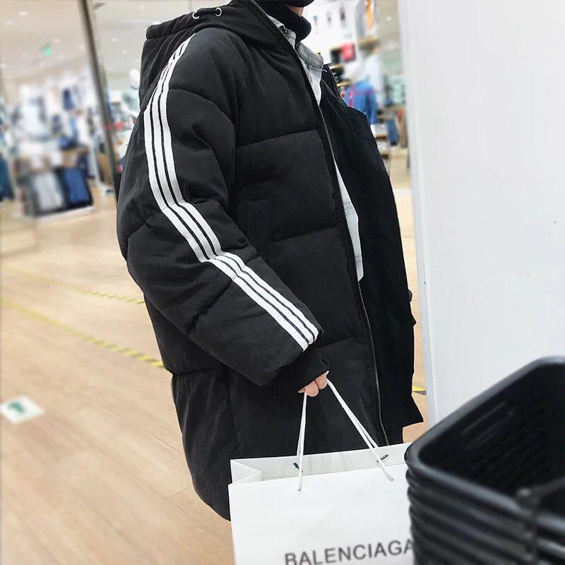 中长款潮牌宽松嘻哈风棉衣男生带帽时尚保暖袄子冬装加厚外套