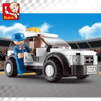 快乐小鲁班小颗粒拼装积木塑料拼插玩具 男孩赛车系列F1安全车