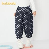 巴拉巴拉宝宝裤子儿童长裤春季2021新款时尚小童女童波点休闲裤潮
