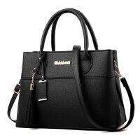 女士包包欧美秋冬新款女包时尚手提包潮流单肩杀手包优惠 固薄手提 黑色