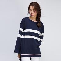 灏领衣尚2017春新品袖口系带横条纹海军蓝侧边开叉针织衫上衣