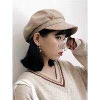 蓓蕾帽女画家帽英伦秋冬休闲鸭舌八角帽时尚显瘦