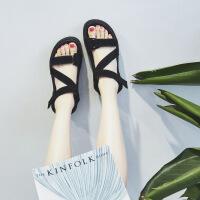 夏季夏季新款凉鞋女韩版潮平跟沙滩鞋百搭休闲厚底松糕凉鞋学生女鞋百搭休闲潮