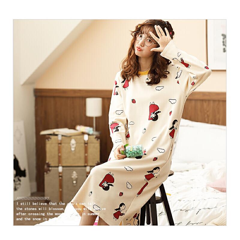 南极人睡衣女士家居服睡裙可外穿棉质舒适透气KH6207