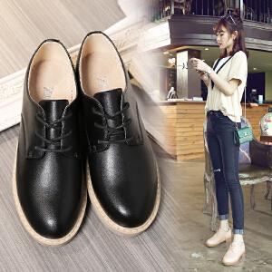 ZHR2017春季新款英伦风真皮女鞋粗跟中跟休闲鞋学生单鞋女小皮鞋G106