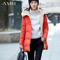 【满200减100 上不封顶】AMII[极简主义]冬装新款羽绒服两面穿连帽大码中长加厚外套女