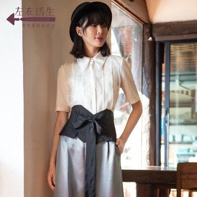 生活在左2019夏季女装新款雪纺中袖衬衣绣花织带文艺气质衬衫上衣