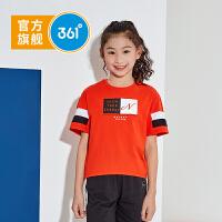 【折后�B券�A估�r:32】361度童�b 女童套�^�和�短袖2021夏季新品女童甜美�r尚��短袖上衣