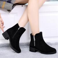 冬季老北京布鞋女棉鞋加绒加厚中跟女短靴子中年妈妈鞋流苏女靴子