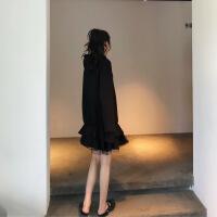 卫衣连衣裙拼接假两件纱裙法式少女茶歇裙长袖荷叶边鱼尾裙女秋冬 黑色