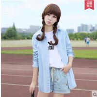 韩版少女时尚纯棉衬衫格子休闲上衣 初高中学生宽松长袖外套