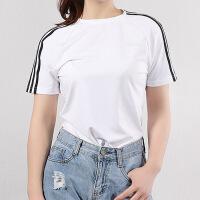 幸运叶子 Adidas/阿迪达斯女装春季新款运动服休闲上衣舒适透气圆领三条纹梭织短袖T恤EH8723