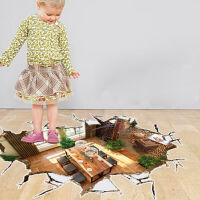 御目 墙贴 3D立体破墙装饰贴装饰画家居个性地可移除防水耐磨墙贴纸满额减限时抢礼品家居用品