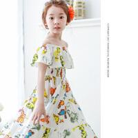 夏装新品一字领长裙韩版童装女童波西米亚连衣裙儿童沙滩裙
