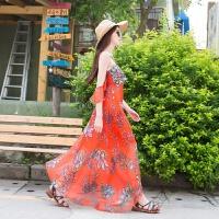 夏秋雪纺长裙波西米亚海边度假连衣裙性感露肩刺绣吊带沙滩裙 橙色