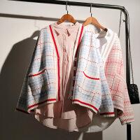 毛衣外套女韩版2018新款秋装网红短款宽松加厚ins超火的针织开衫 浅蓝 均码
