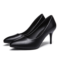 正装软皮高跟鞋女黑色工作鞋中跟尖头职业面试粗跟浅口单鞋女细跟百搭 8 公分黑色