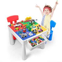 儿童玩具多功能积木桌子大号3周岁大小颗粒