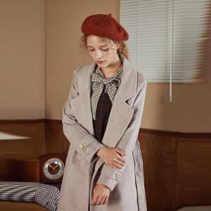 【2件3折价258.9元】唐狮冬装新款流行大衣女外套中长款韩版呢子宽松赫本风毛呢潮